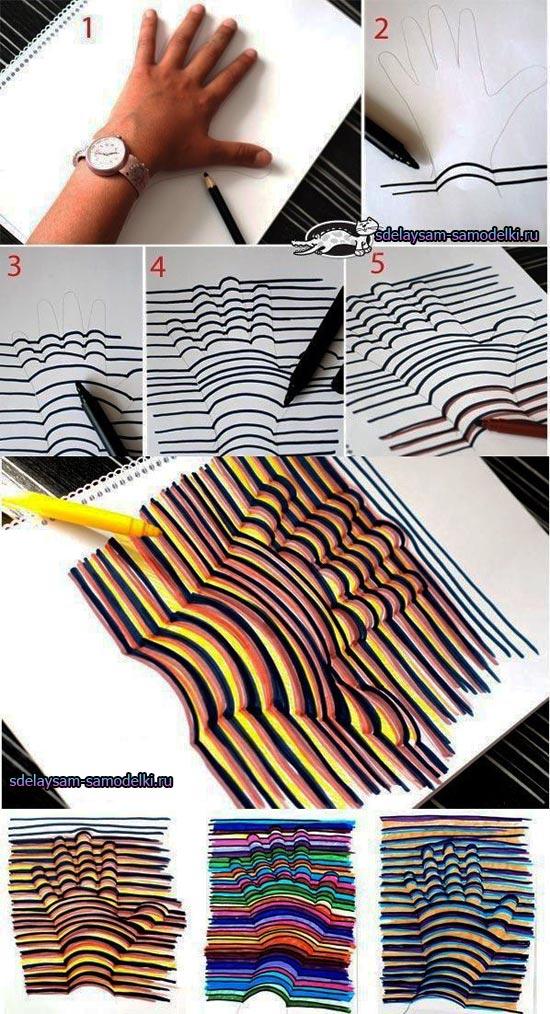 3D Рисунки на бумаге. Как это сделано! Показательный урок. Нарисуйте сами то, что захотите.