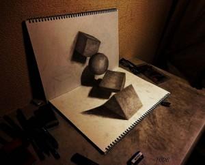 3D-5-300x242 Как нарисовать 3д (3d) рисунок на бумаге карандашом
