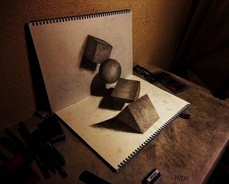 10 примеров, как нарисовать 3d рисунки на бумаге: фото, видео.