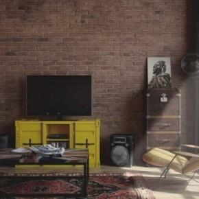 Den-loft: крутая квартира холостяка в индустриально-винтажном стиле