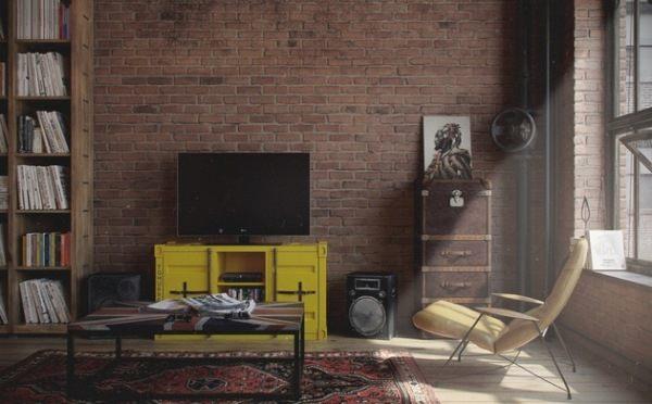 Den-loft: жизнь в холостяцкой квартире в индустриально-винтажном стиле