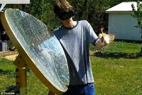 Солнечный рефлектор или зеркала Архимеда в действии.