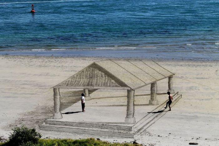 3D арт на пляже.