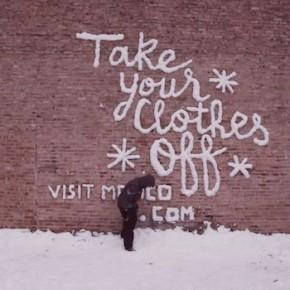 """""""Снежное граффити"""" в Чикаго - один из самых удивительных и бесплатных рекламных принтов."""