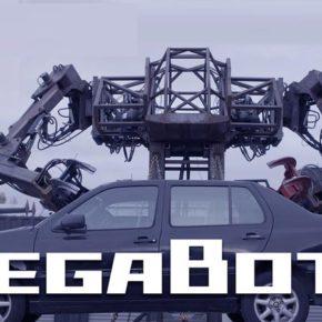 Боевой робот Megabots с легкостью дробит не только мелкие строения, но и автомобили.